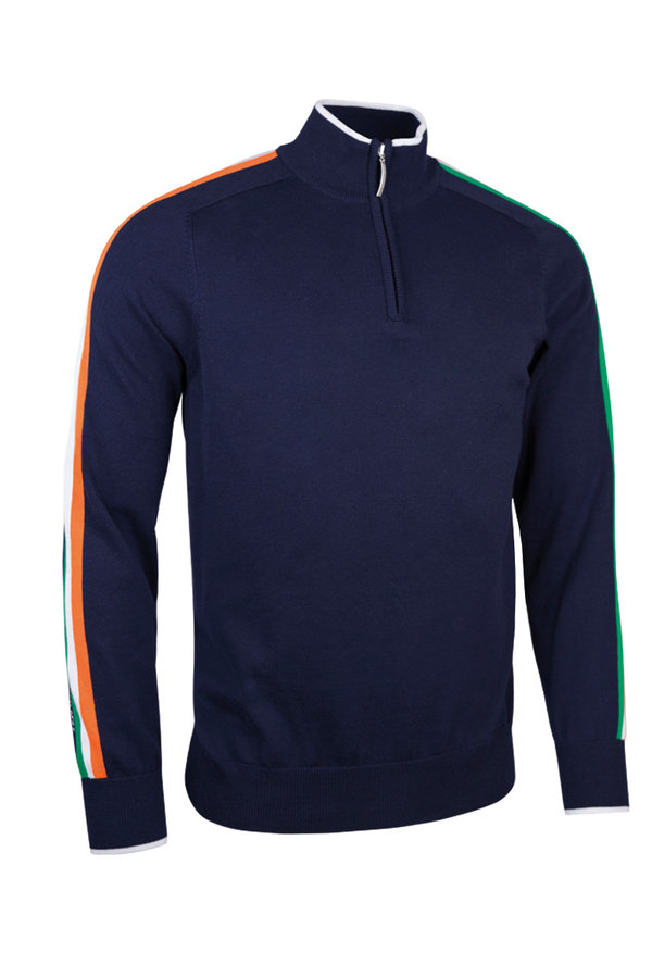 Glenmuir 1/4 zip sweater - Navy with Irish stripe.