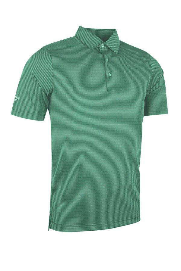 Glenmuir Torrance striped polo shirt - Grey marl/Spring green