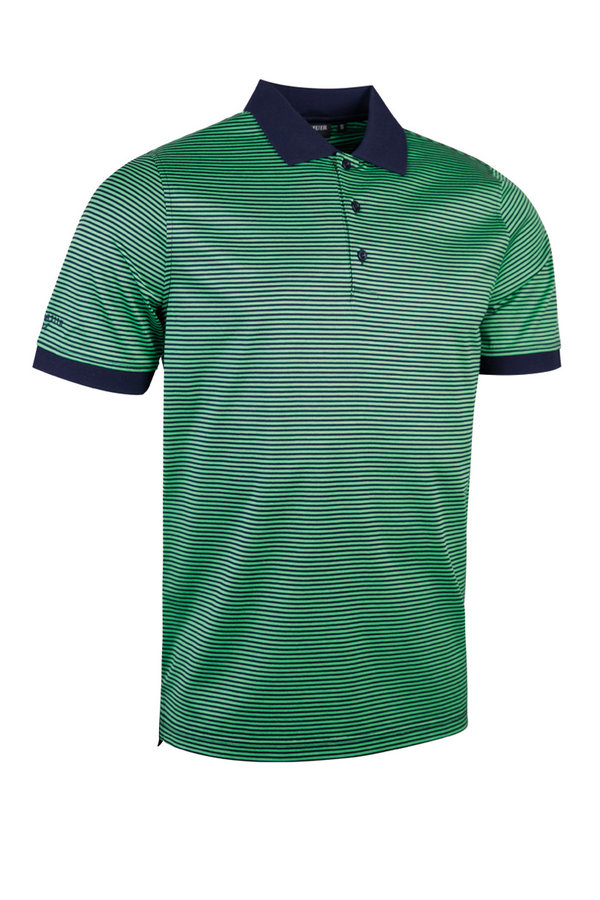 Glenmuir Navy/Spring green stripe polo