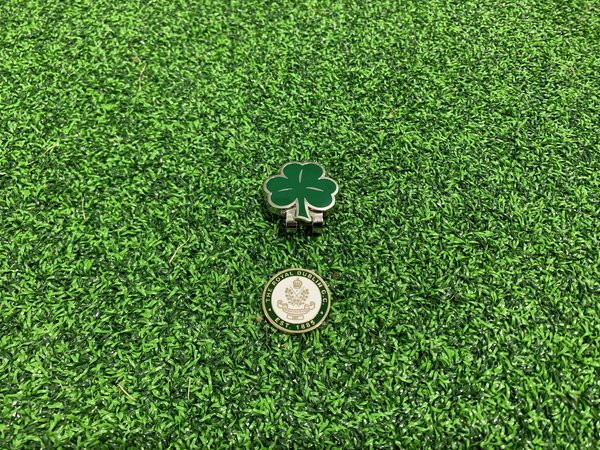 Shamrock hat clip with RD brass ball marker