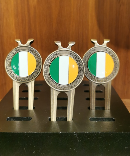 Brass pitch fork with tri-colour ball marker - Set of 3